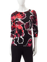 Ruby Rd. Floral Print Embellished Knit Top