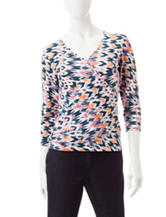 Ruby Rd. Abstract Print Knit Top