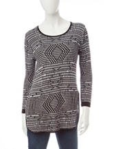 Hannah Black & White Diamond Knit Sweater