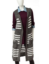 Hannah Striped Hooded Sweater Vest