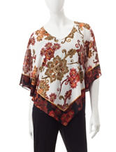 Ruby Rd. Floral Print Poncho Top