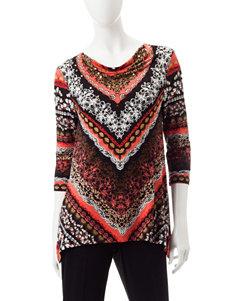 Ruby Road Black Multi Shirts & Blouses
