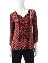 Ruby Rd. Floral Print Peasant Top