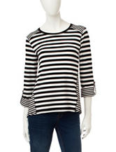 Ruby Rd. Striped Print Hi-Lo Tunic Top