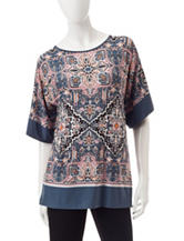 Ruby Road Multicolor Jacquard Print Top