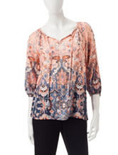 Ruby Road Bohemian Print Peasant Top