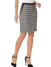 Rafaella Jacquard Faux Leather Trim Skirt
