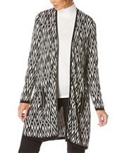 Rafaella Geometric Print Faux Leather Trim Cardigan
