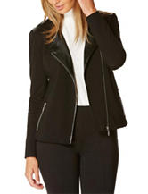 Rafaella Faux Leather Trim Moto Jacket