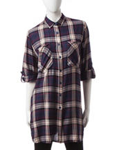 Hannah Plaid Print Tunic Top