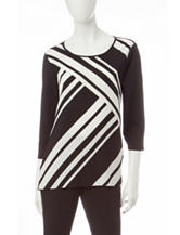 Notations Striped Black & White Hi-Lo Top