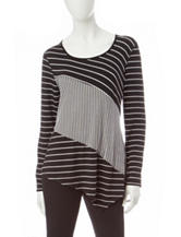 Notations Multi Striped Print Top