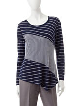 Notations Navy Multi Striped Print Top