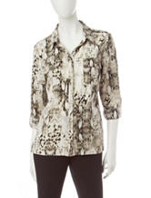 Notations Snake Print Utility Top