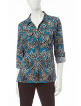 Notations Paisley Print Utility Top