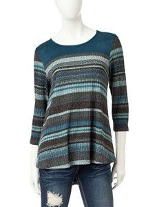 Hannah Blue Combo Shirts & Blouses
