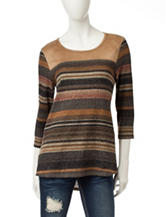 Hannah Striped Faux Suede Top