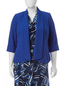 Kasper Plus-size Blue Flyaway Jacket