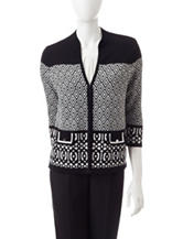 Kasper Black & White Color Block Knit Cardigan