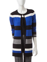Kasper Multicolor Stripe Print Cardigan