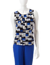 Kasper Multicolor Geometric Print Top