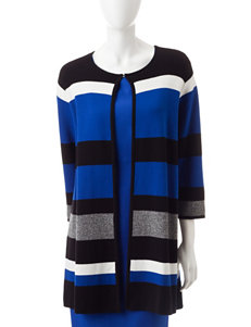 Kasper Plus-size Multicolor Striped Cardigan