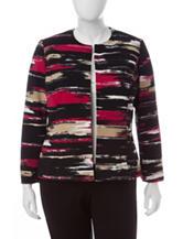 Kasper Multicolor Brush Stroke Print Jacket