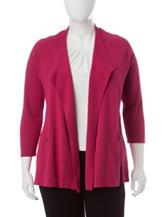 Kasper Plus-size Red Knit Cardigan