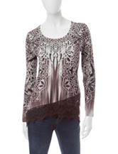 Energé Lace Print Knit Top