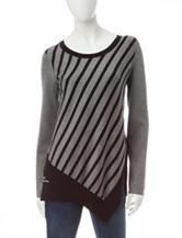 Hannah Stripe Print Asymmetrical Sweater
