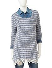Hannah Stripe Print Lace Top