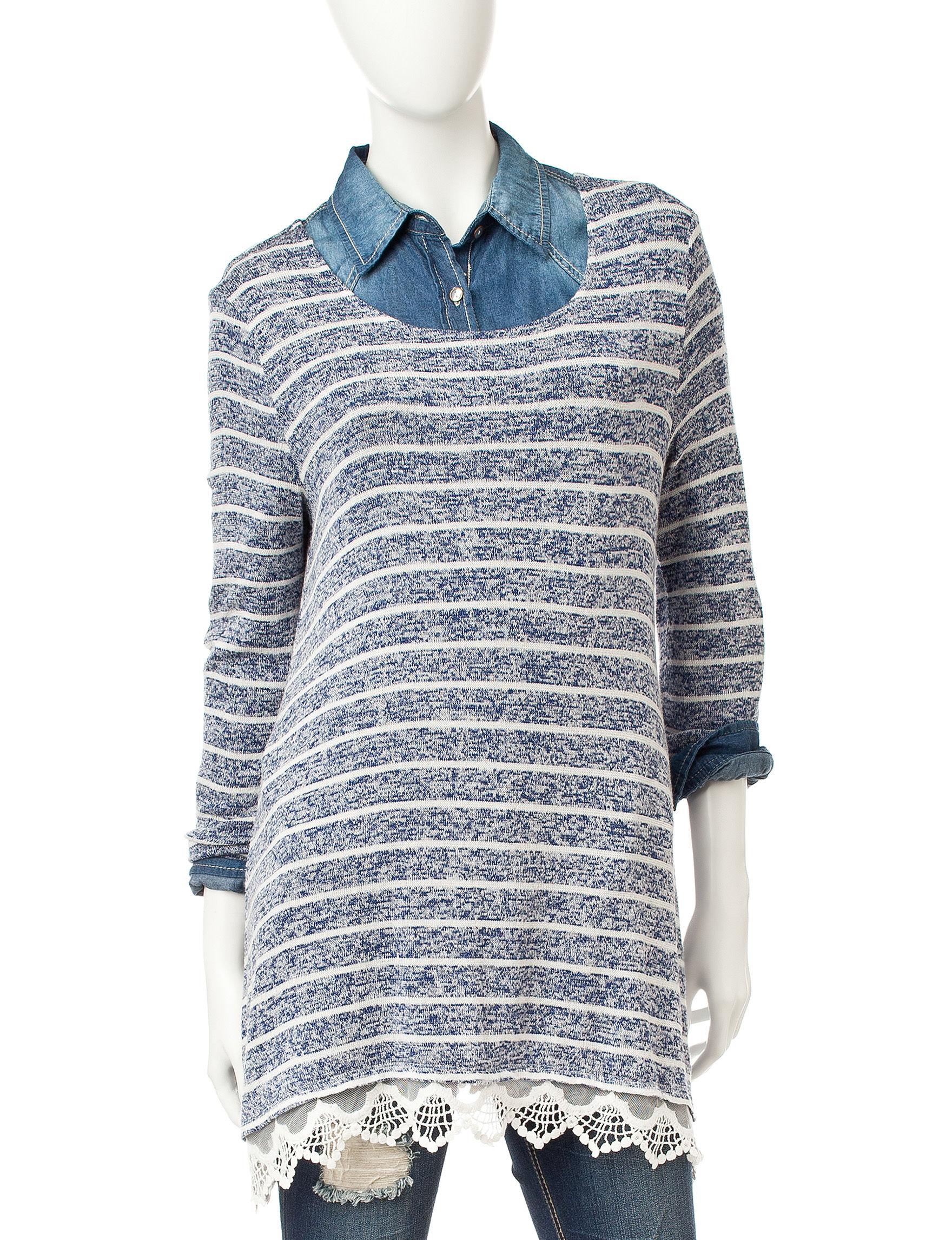 Hannah Navy / Cream Shirts & Blouses