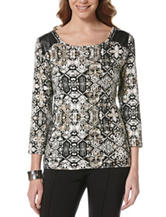 Rafaella Medallion Print Faux Leather Trim Top