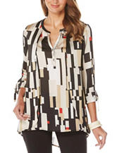 Rafaella Abstract Print Tulip Overlay Hi-Lo Top