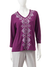Alfred Dunner Embroidered Knit Top