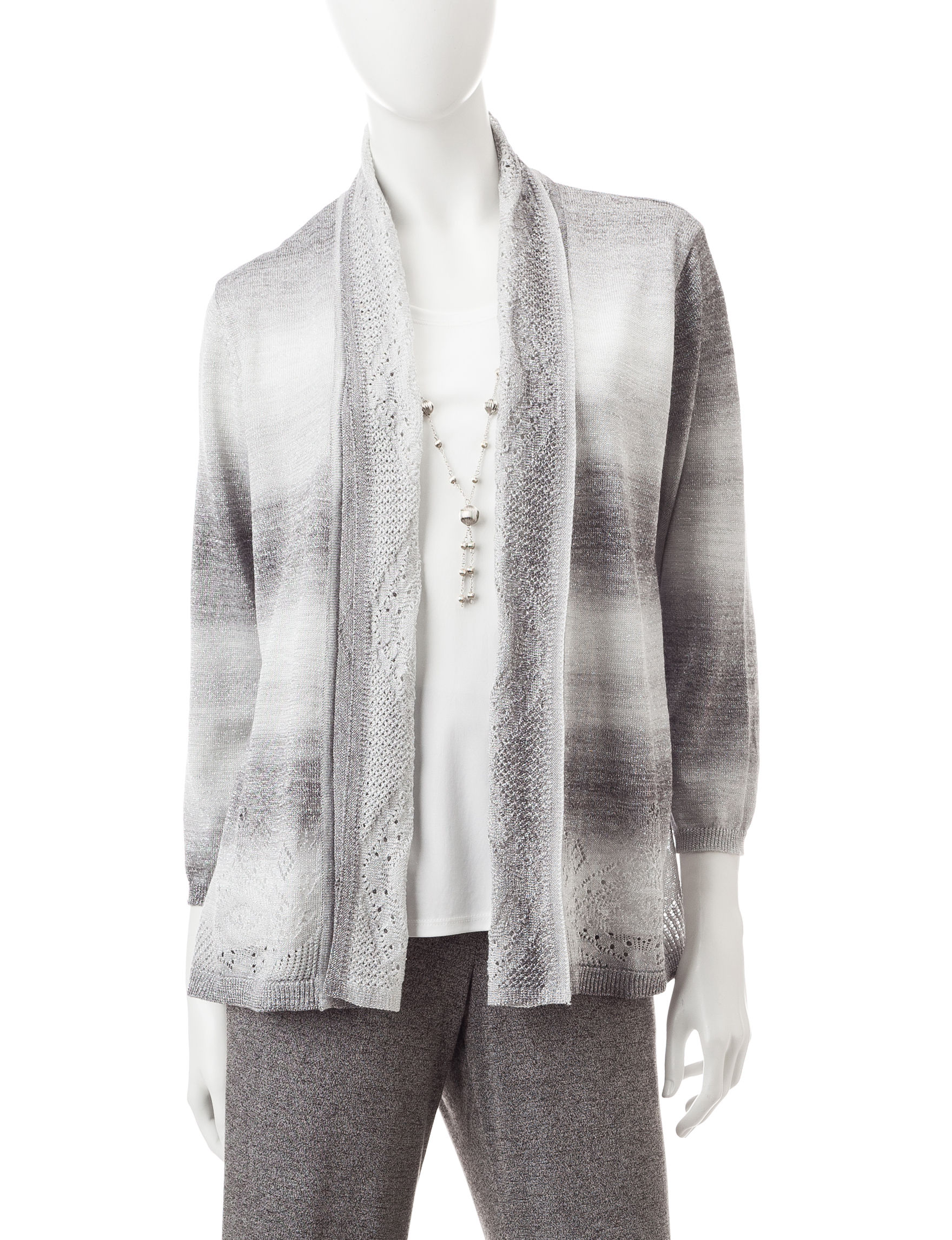 Alfred Dunner Grey Sweaters