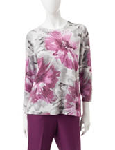 Alfred Dunner Shimmering Floral Print Sweater
