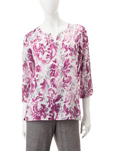 Alfred Dunner Scroll Print Tunic Top
