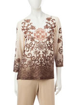 Alfred Dunner Ombre Scroll Print Top