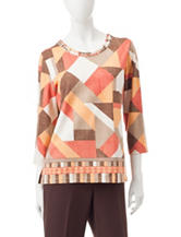 Alfred Dunner Geo Print Embellished Top