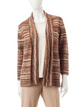 Alfred Dunner Striped Print Cardigan