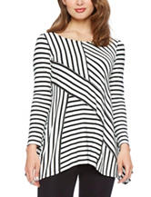 Skyes The Limit Striped Sharkbite Knit Top