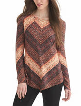 Nine West Jeans Mixed Print Top