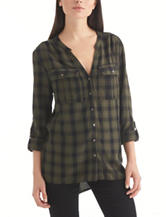 Nine West Jeans Multicolor Plaid Top
