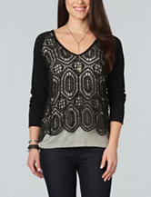 Democracy Lace Overlay Knit Top