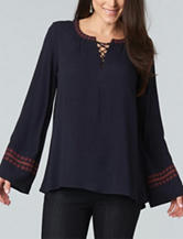 Democracy Embroidered Trim Peasant Top