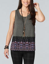 Democracy Border Print Knit Top