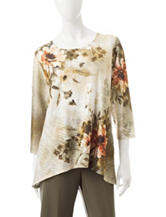 Alfred Dunner Floral Print Knit Top