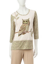 Alfred Dunner Owl Knit Top