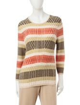 Alfred Dunner Embellished Stripe Print Sweater